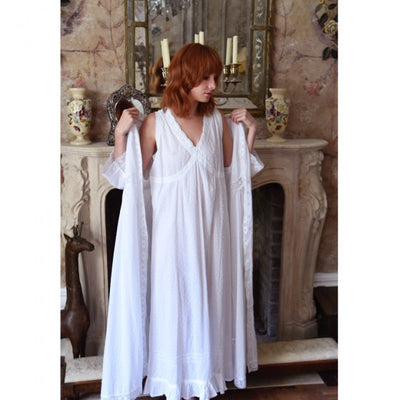 """Megan"" Swiss Dot Dressing Gown -  Women's Clothing - Powell Craft Uk - Putti Fine Furnishings Toronto Canada - 3"