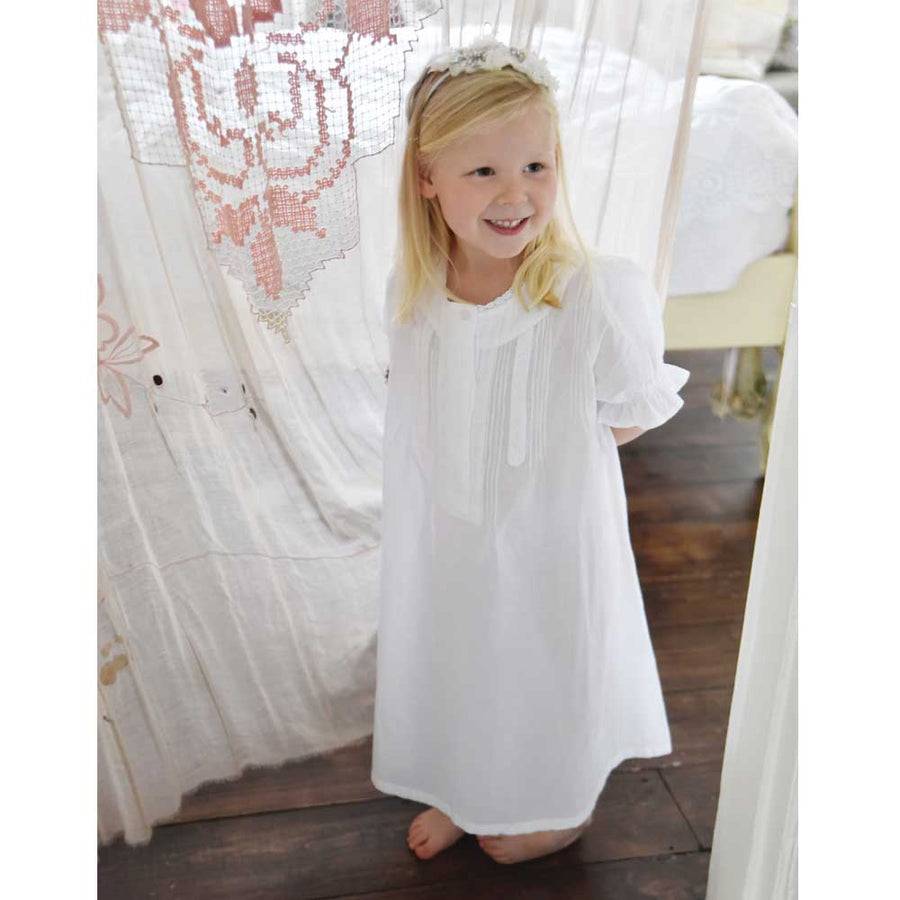 """Martha"" White Cotton Night Dress"