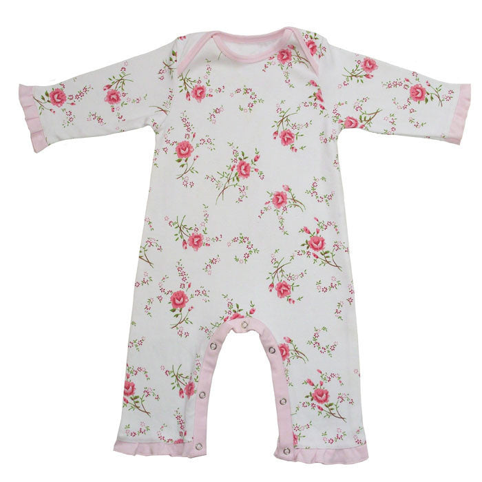 Pink Rose Floral Jumpsuit - 0-6 months Children's Clothing - Powell Craft Uk - Putti Fine Furnishings Toronto Canada