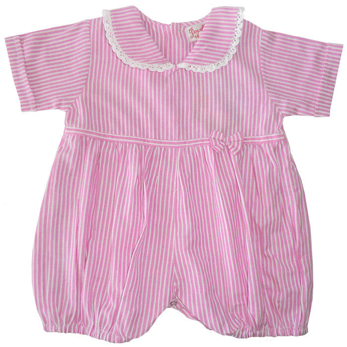 Pink and White Stripe Romper Suit