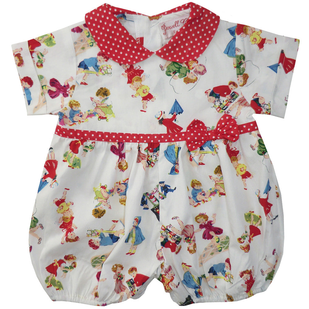 """Girls at Play"" Romper Suit-Children's Clothing-PC-Powell Craft Uk-0 to 6 months (Sold Out)-Putti Fine Furnishings"