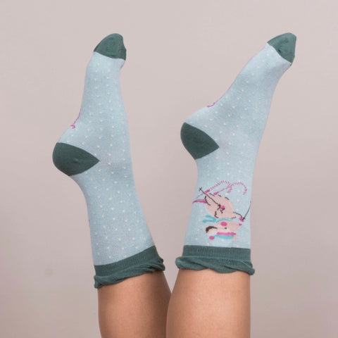 "Powder ""Skiing Mice"" Ankle Socks - Ice-Personal Accessories-PDL-Powder Design Limited-Putti Fine Furnishings"