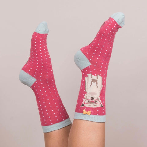 "Powder ""Westie"" Ankle Socks - Berry-Personal Accessories-PDL-Powder Design Limited-Putti Fine Furnishings"