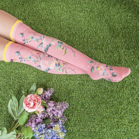 "Powder ""Climbing Rose"" Long Socks - Dark Pink-Personal Accessories-PDL-Powder Design Limited-Putti Fine Furnishings"