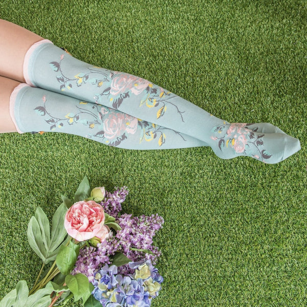 "Powder ""Climbing Rose"" Long Socks - Blue-Personal Accessories-PDL-Powder Design Limited-Putti Fine Furnishings"