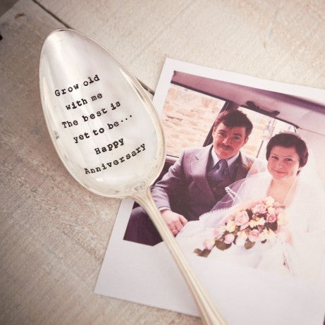 """Grow old with me ....Happy Anniversary"" Vintage Serving Spoon-Hand Stamped Vintage Cutlery-LDD-La De Da Living-Putti Fine Furnishings"