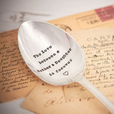 """The love between a Mother & Daughter is Forever"" Vintage Serving Spoon -  Hand Stamped Spoons - La De Da Living - Putti Fine Furnishings Toronto Canada - 2"