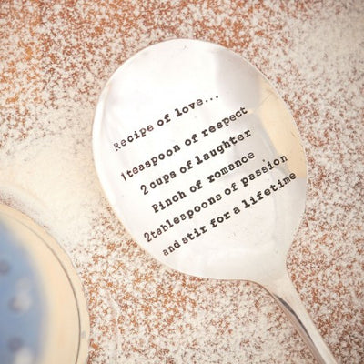 """Recipe of Love "" Vintage Serving Spoon -  Hand Stamped Spoons - La De Da Living - Putti Fine Furnishings Toronto Canada"