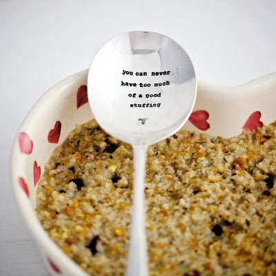 """You can never have too much of a good stuffing"" Vintage Serving Spoon -  Hand Stamped Spoons - La De Da Living - Putti Fine Furnishings Toronto Canada - 1"