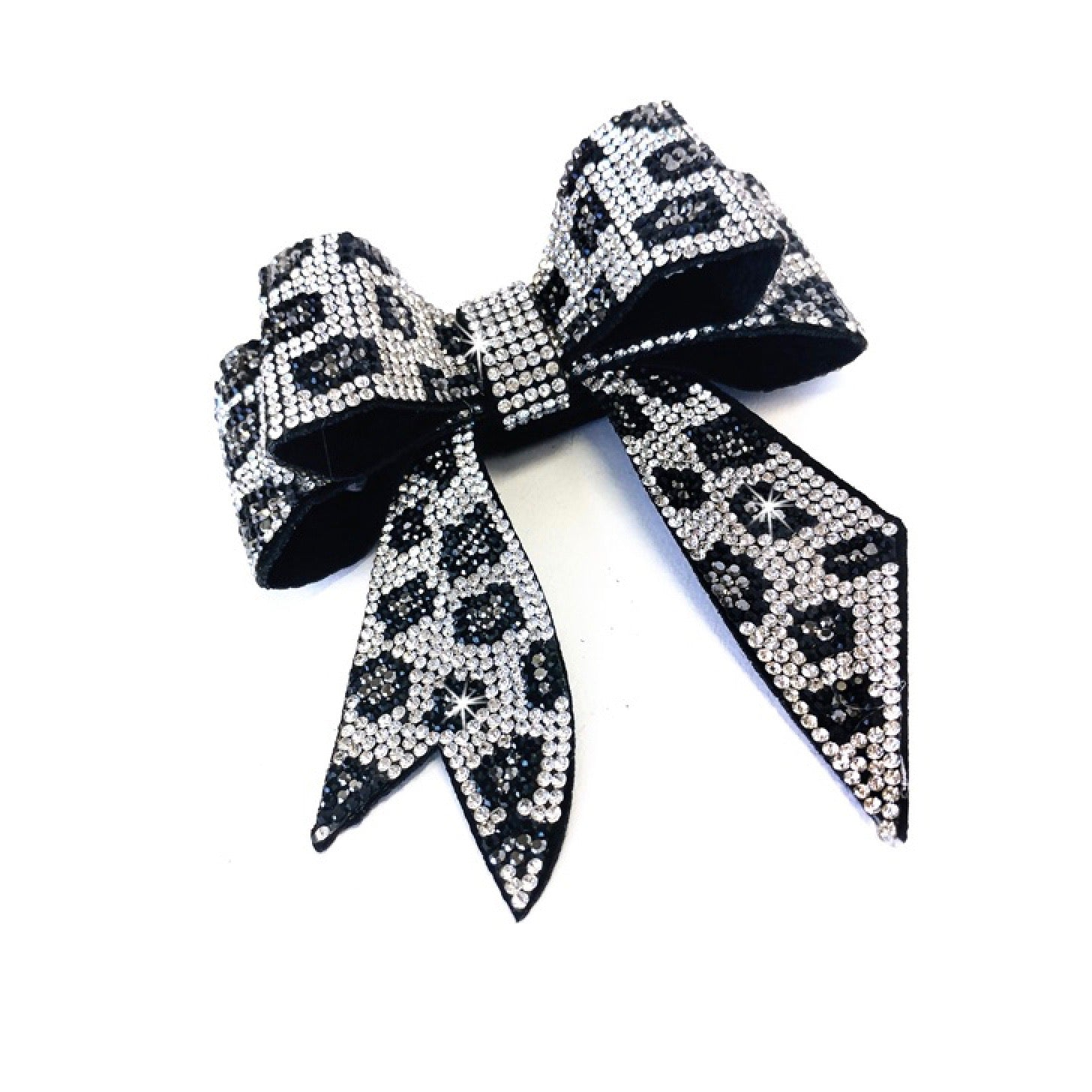 "Jacqueline Kent ""Sugar Cane Collection"" Crystal Bow - Silver Leopard"