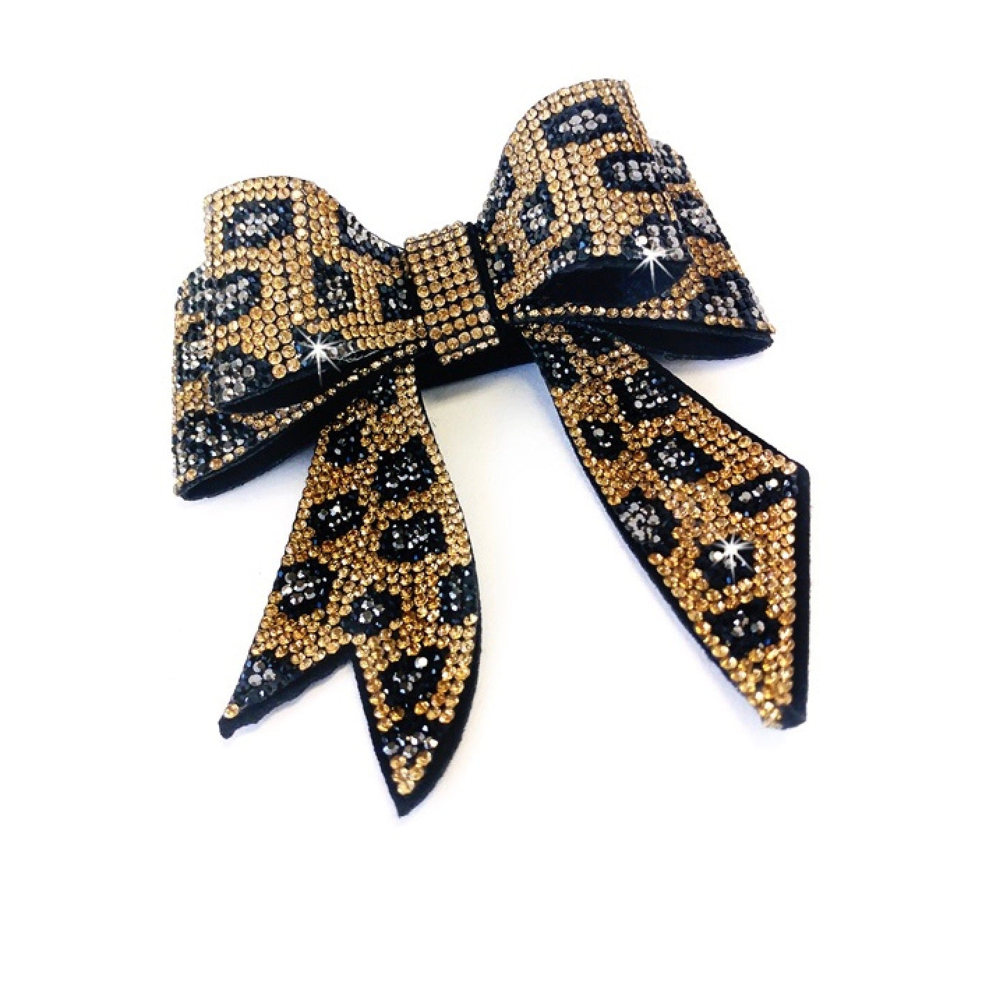 "Jacqueline Kent ""Sugar Cane Collection"" Crystal Bow - Gold Leopard"
