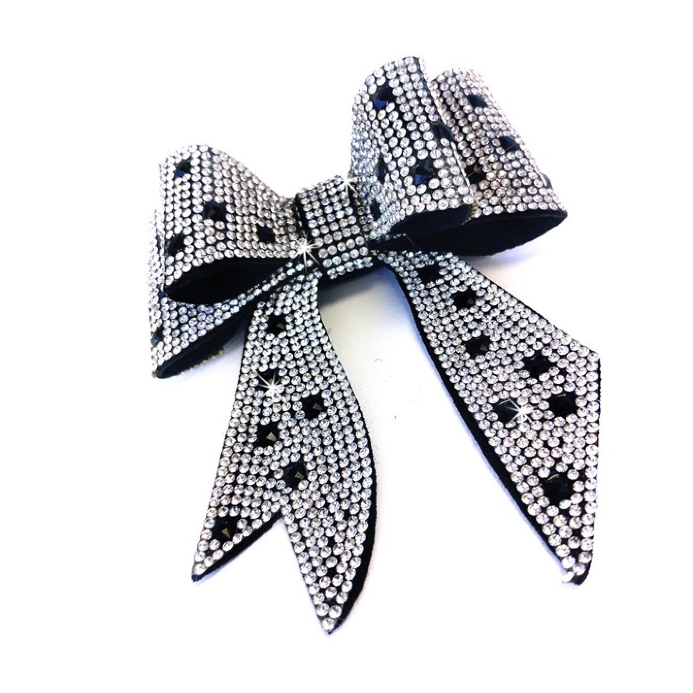 "Jacqueline Kent ""Sugar Cane Collection"" Crystal Bow - Silver and Black"