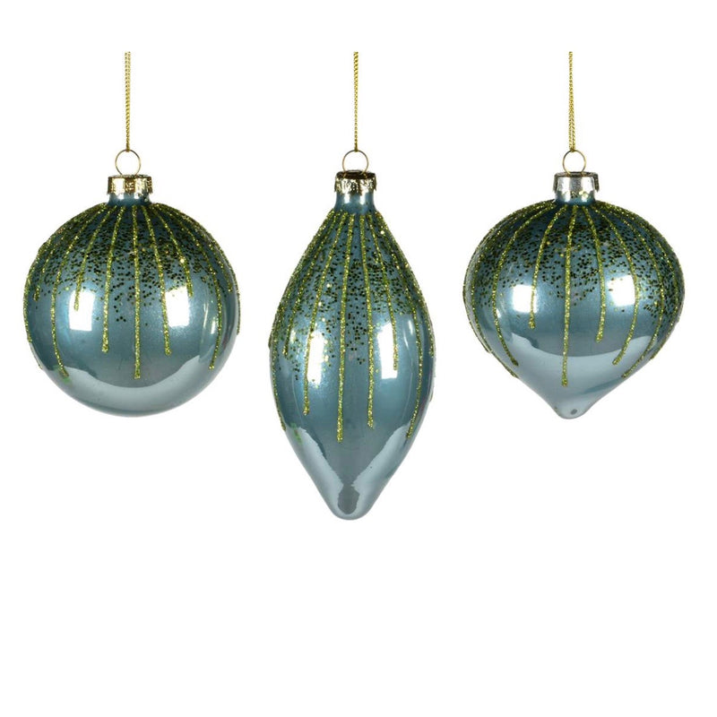 Aqua Ornaments with Lime Glitter Glass Ornaments | Putti Christmas Decorations