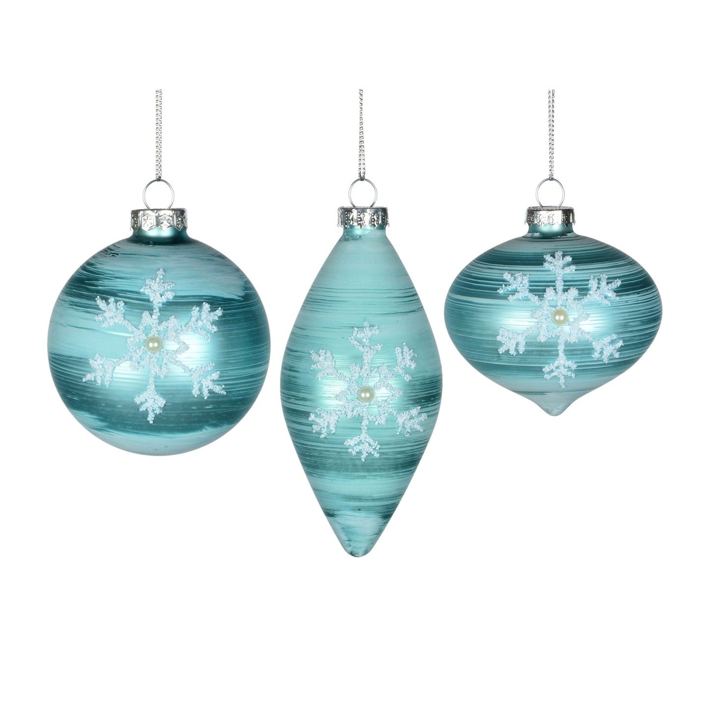 Aqua Glass Christmas Ornament with Snowflakes & Pearls