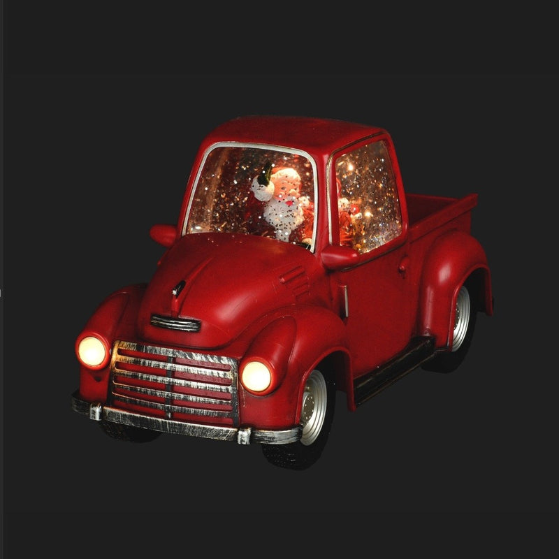 Red Truck with Santa Lantern with Perpetual Snow LED | Putti Christmas