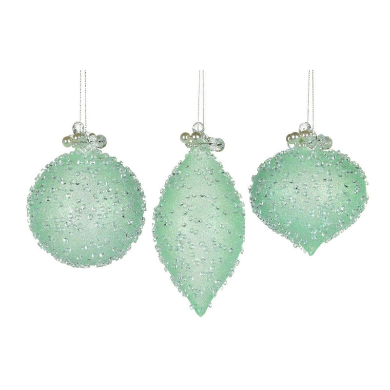 Mint Green Beaded Glass Christmas Ornament | Putti Christmas Celebrations
