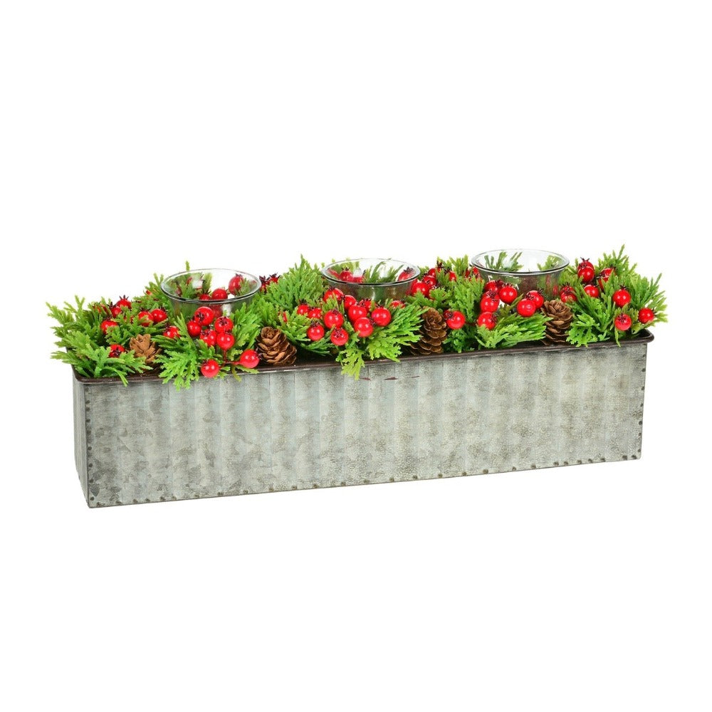 Pine Berry Rectangular Tea Light Holder | Putti Christmas Decorations