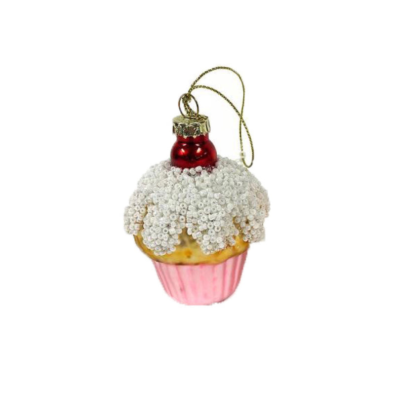Pink Glass Cupcake with Cherry | Putti Christmas Celebrations