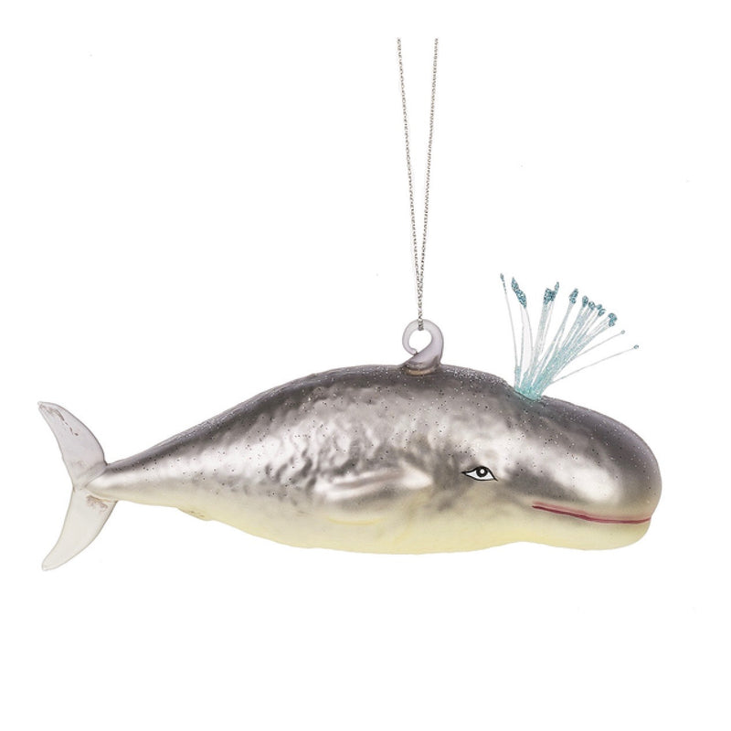 Grey Glass Whale Ornament | Putti Celebrations Canada