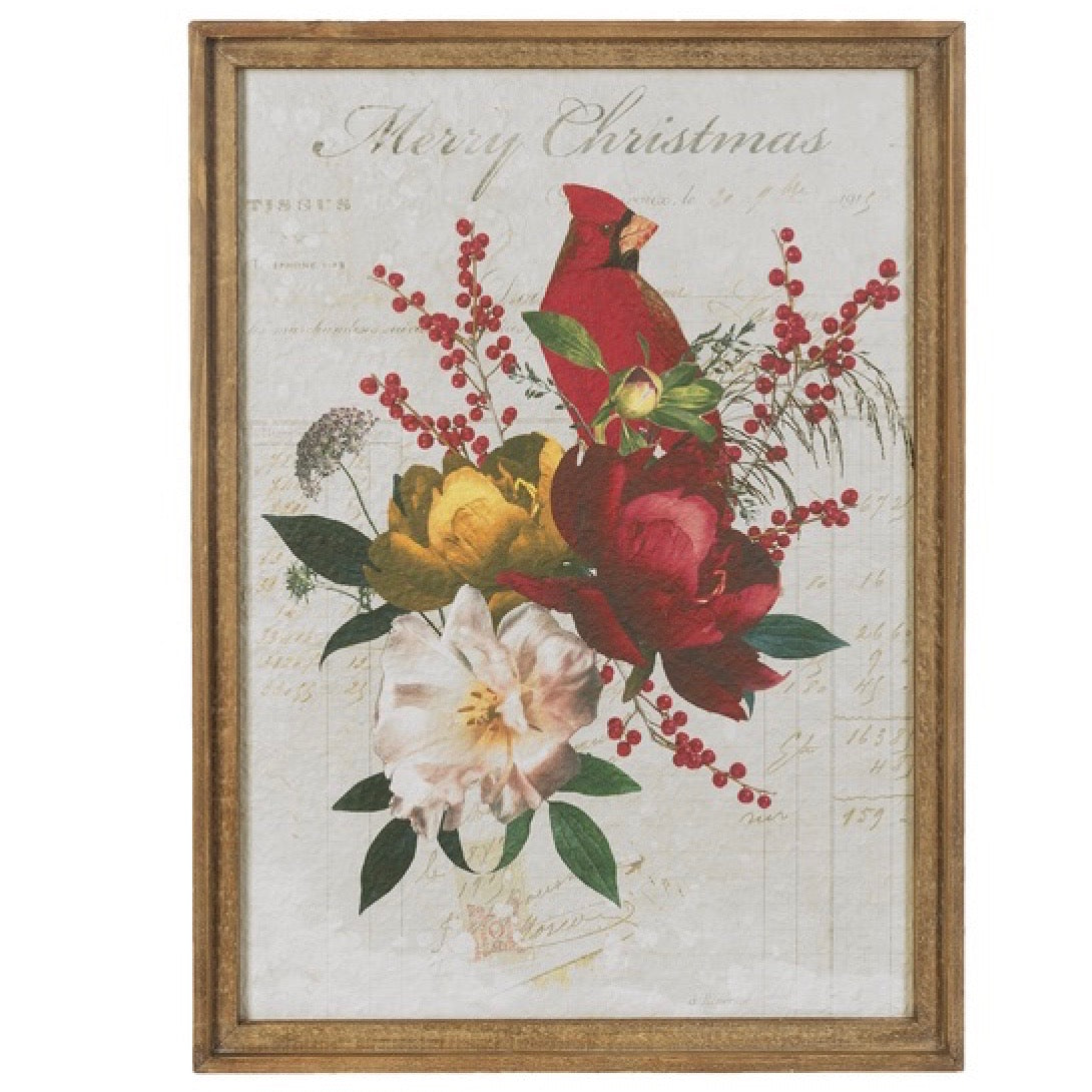 """Merry Christmas"" Cardinal Floral Print 