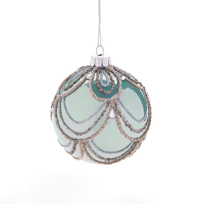 Sage Green with Swags Glass Ornament - Ball