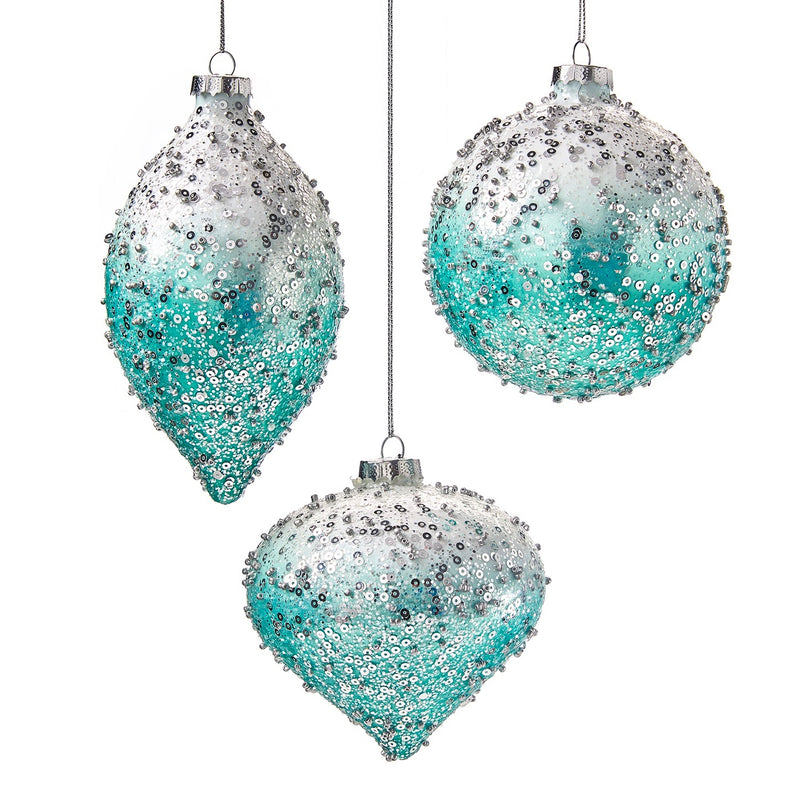 Ombre Aqua with Silver Sequins Glass Ornament - Double Point