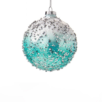 Ombre Aqua with Silver Sequins Glass Ornament - Ball