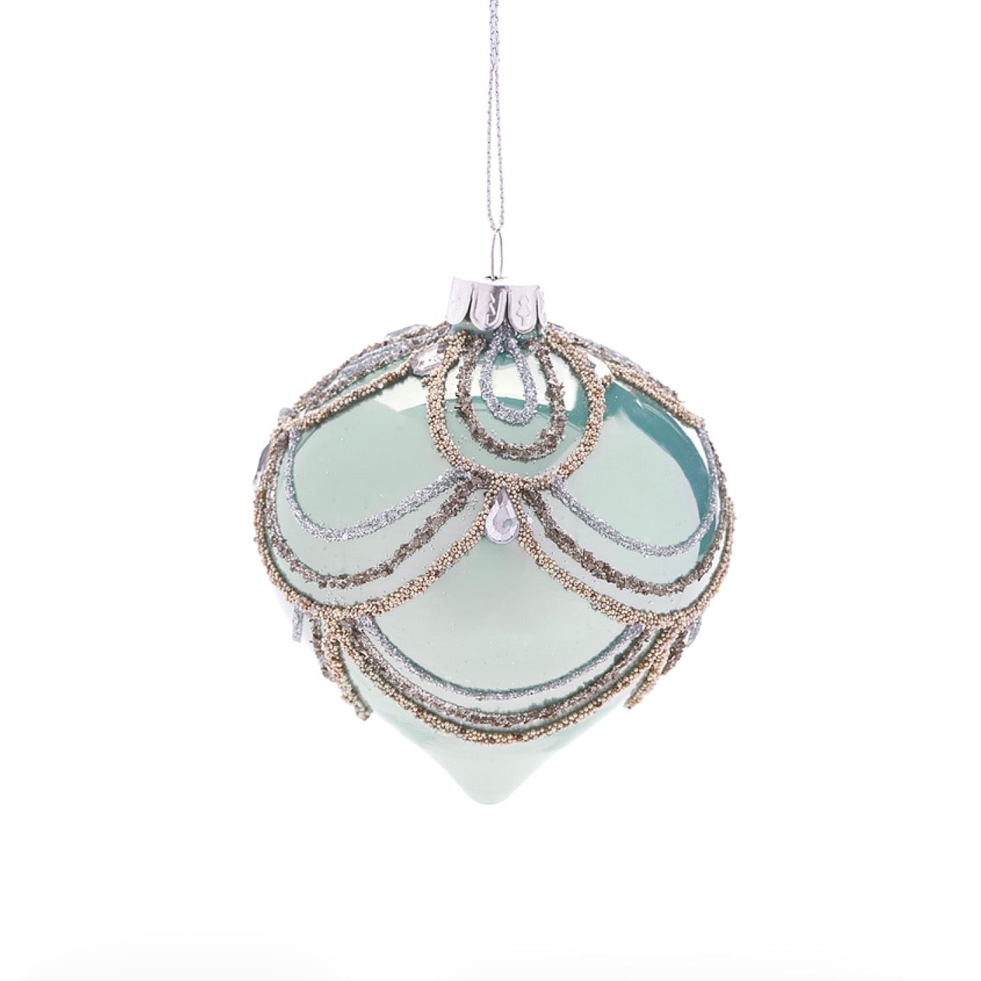 Clear Green with Swags Glass Ornament - Onion | Putti Christmas
