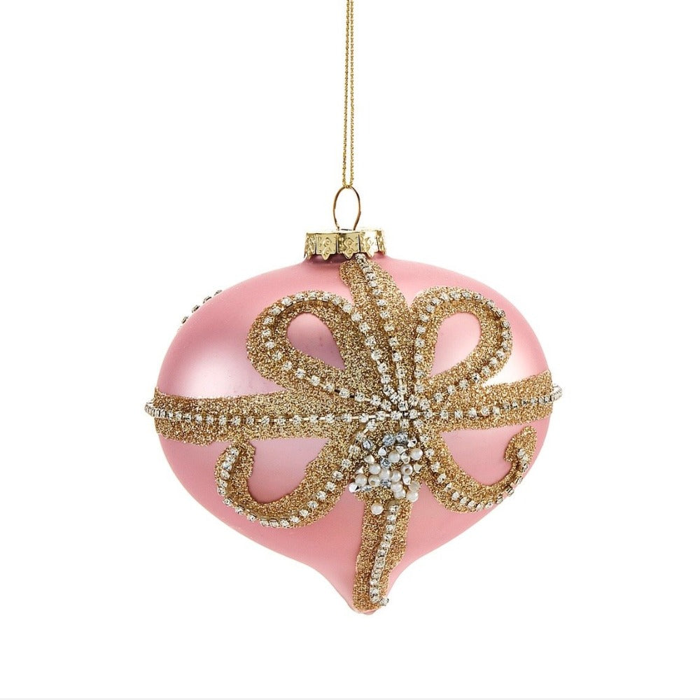 Pink with gold Beaded Bow Glass Onion Ornament | Putti Christmas Celebrations