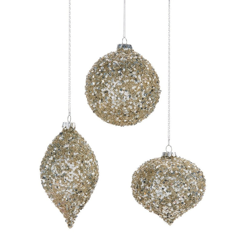 Silver and Gold Sequin Glass Ornament - Double Point | Putti Christmas Celebrations