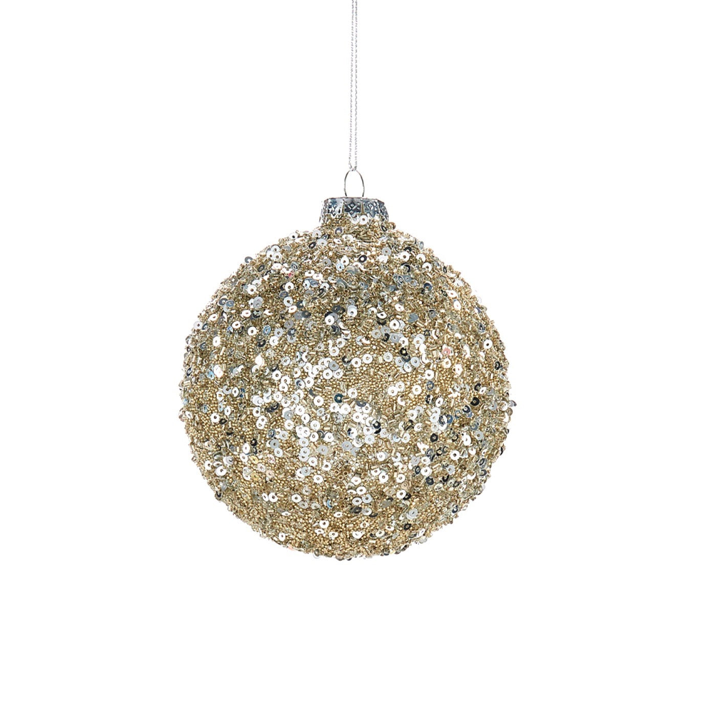 Silver and Gold Sequin Glass Ornament - Ball