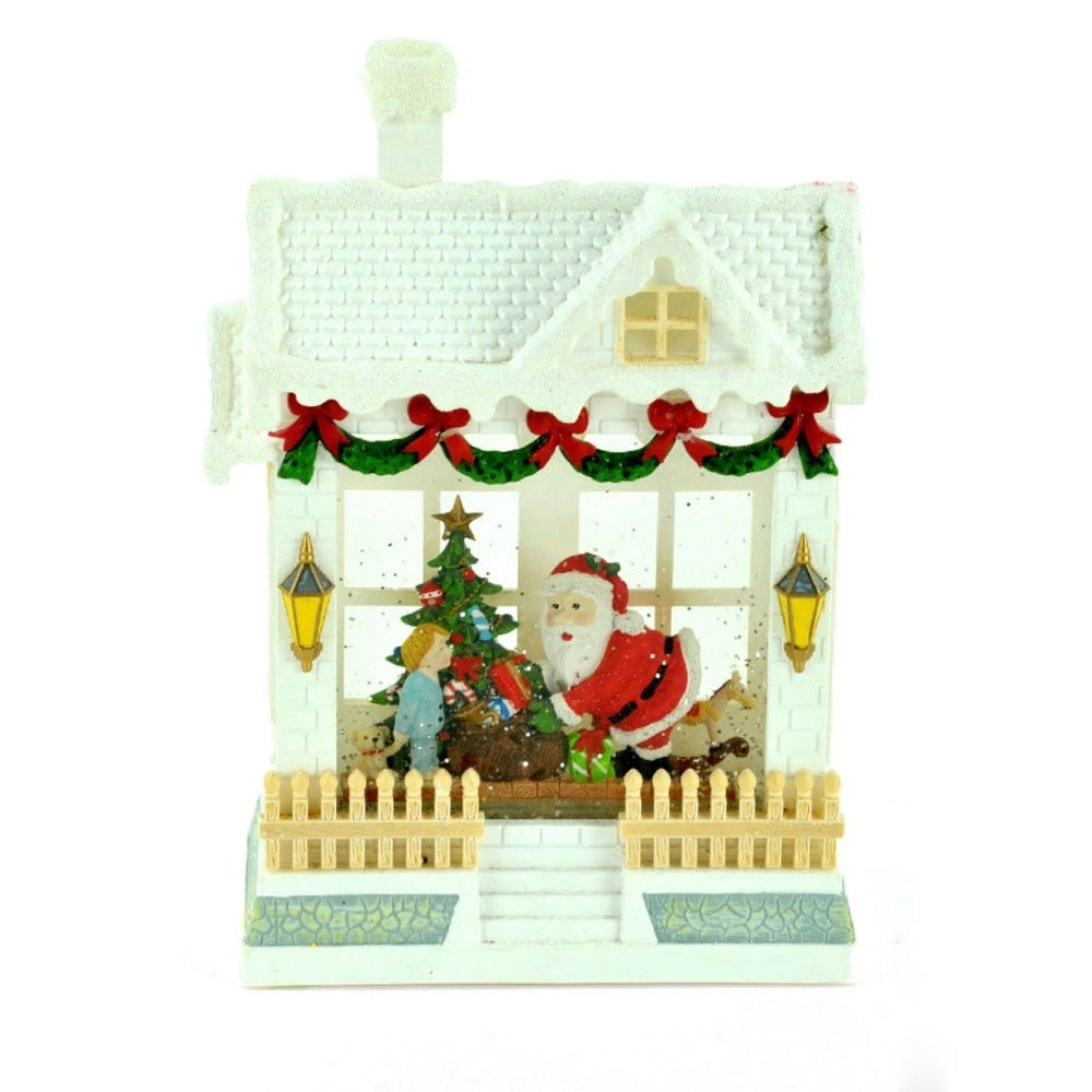 Christmas House with Santa Lantern with Perpetual Snow