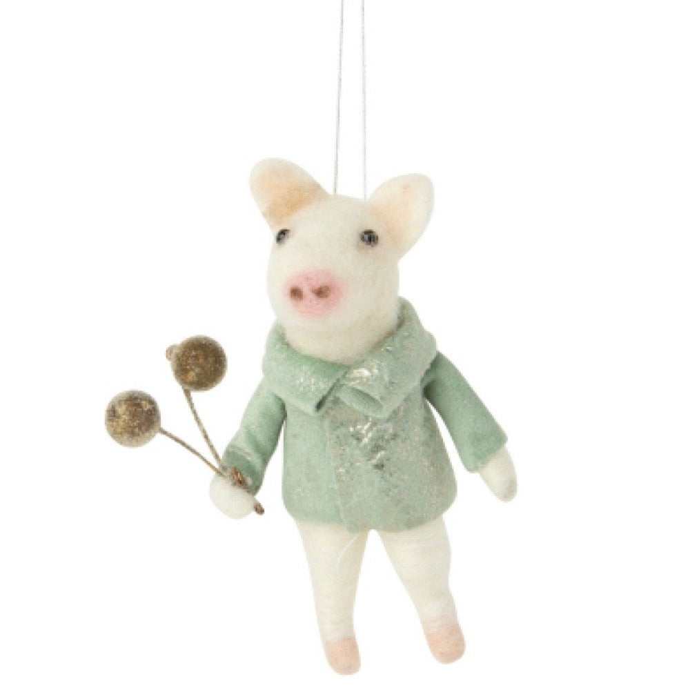 Felt Boy Pig in Light Green Jacket Ornament | Putti Celebrations Canada