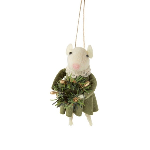 Felt Girl Mouse in Green Velvet Dress Ornament | Putti Celebrations Canada