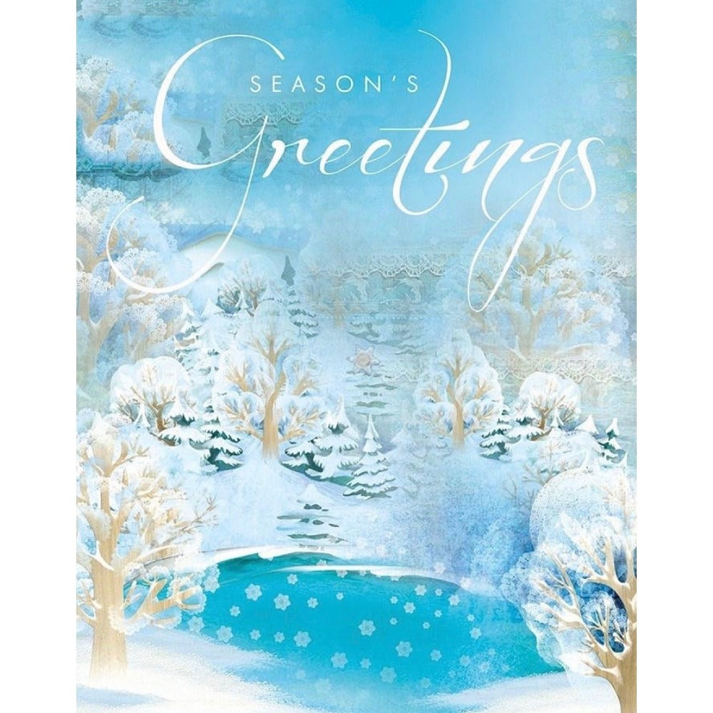 Aqua Blue Pond Boxed Christmas Greeting Cards | Putti Celebrations