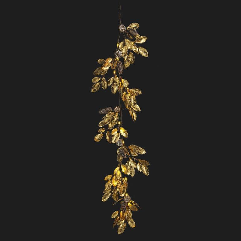30 LED Light Up Golden Leaves & Pinecones Garland