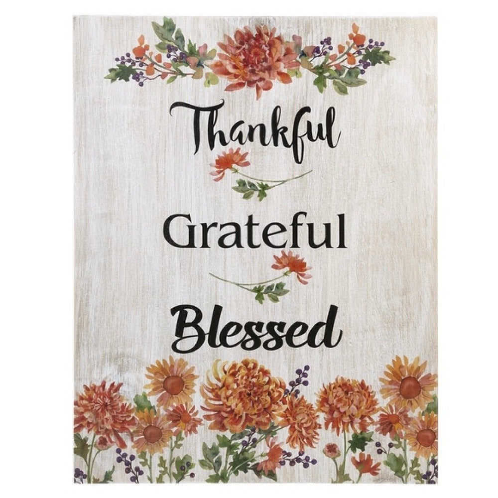 Thankful Grateful Blessed Wall Plaque | Putti Thanksgiving Celebrations Canada