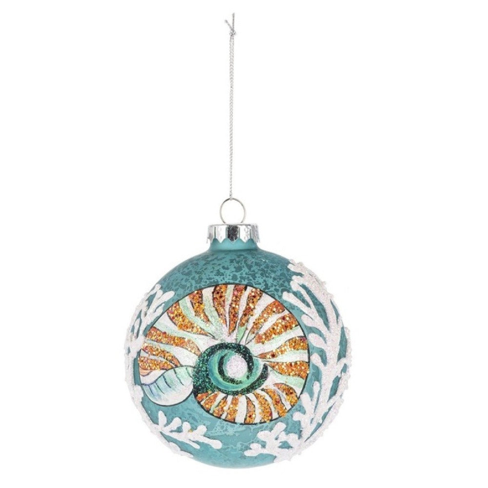 Nautilus Shell Glass Ball Ornament | Putti Celebrations Canada
