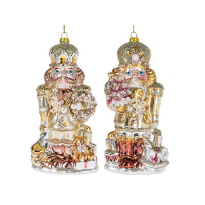 Pastel Glass Nutcracker Ornament with Wreath | Putti Christmas Celebrations