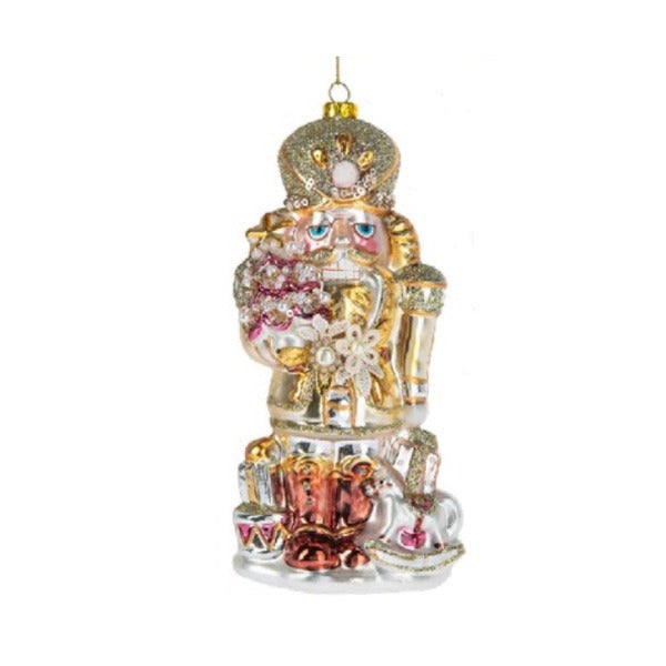 Pastel Glass Nutcracker Ornament with Tree  Putti Christmas Celebrations