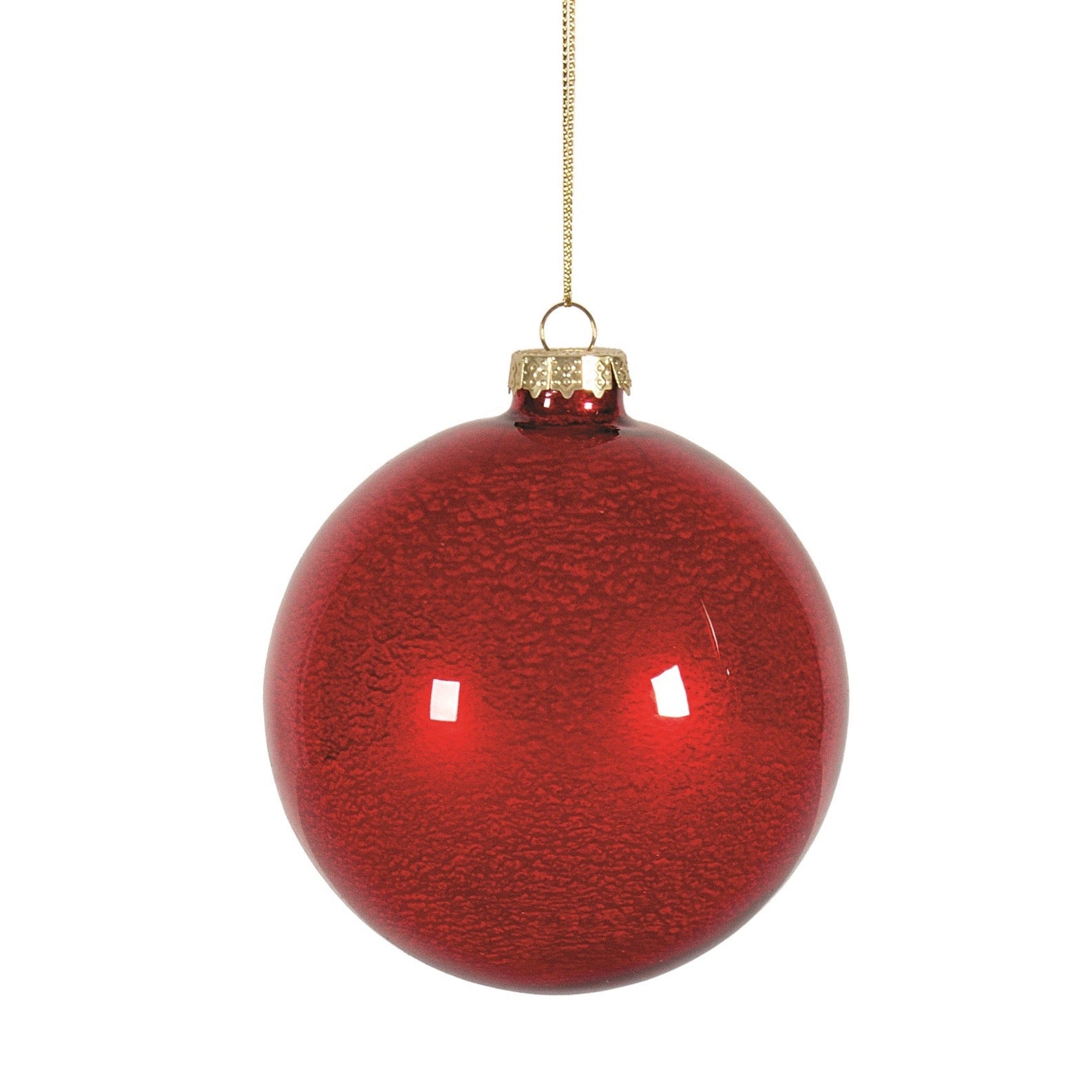 Pearlized Red Glass Ball Ornament