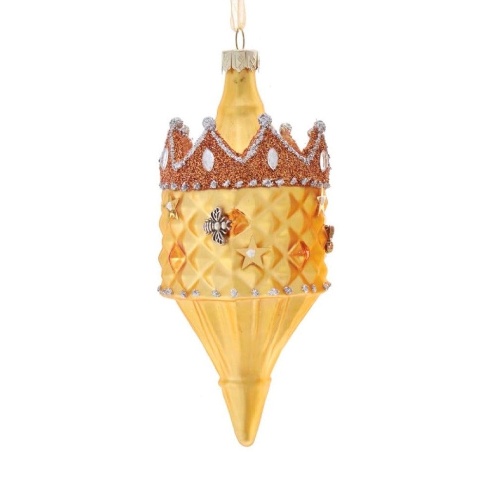 Kurt Adler Bee Finial with Crown Glass Ornament | Putti Canada