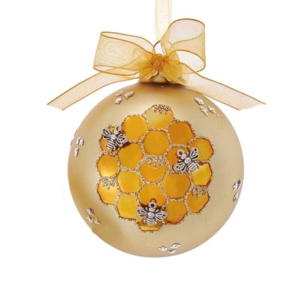 Kurt Adler Gold Honeycomb Bee Glass Ball Ornament | Putti Christmas