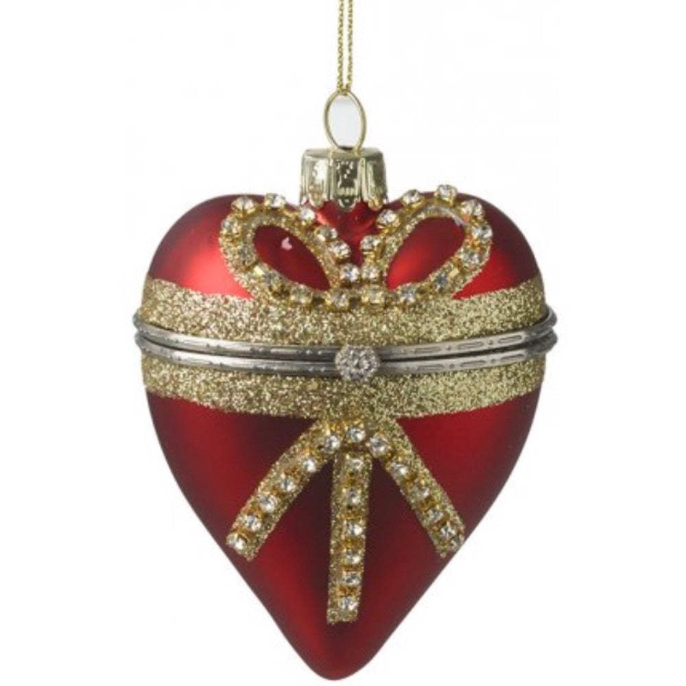 Red  Glass Heart with Bow Trinket Box Ornament