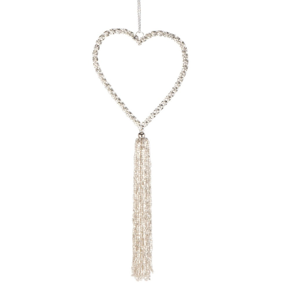 Rhinestone Hanging Heart with Tassel Ornament | Putti Celebrations Canada