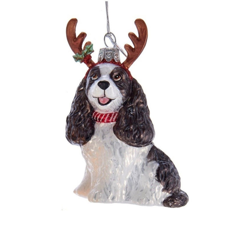 Kurt Adler Cocker Spaniel with Antlers Glass Ornament