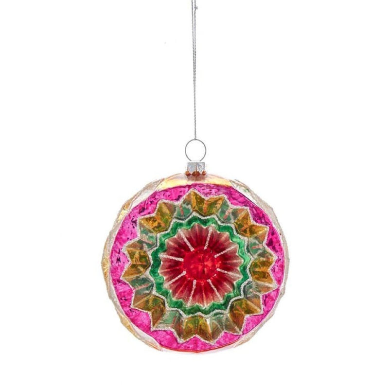 Colorful Reflector Ball Glass Ornament - Pink