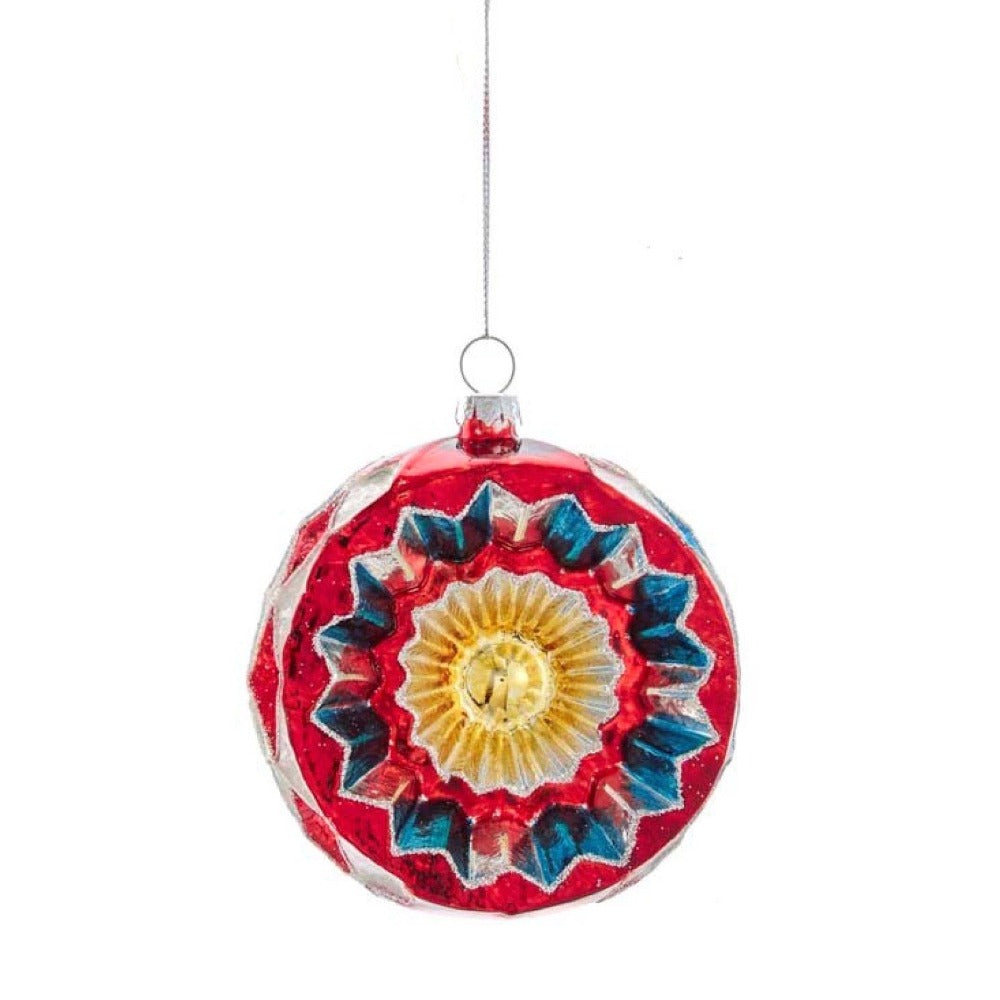 Colorful Reflector Ball Glass Ornament - Red