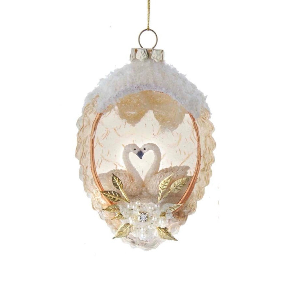 Kurt Adler Glass Pinecone with Swan Ornament | Putti Christmas