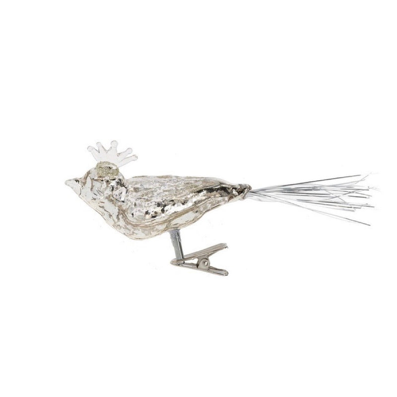 Silver Mercury Glass Clip Bird with Crown Ornament